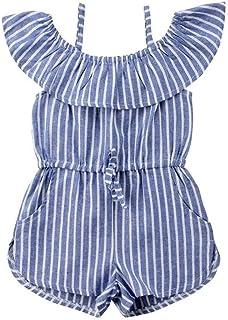 Carolilly Mono Verano para Niña Traje de Ropa Infantil para Bebés Pantalones de Peto Fuera del Hombro Overalls Cortos con ...