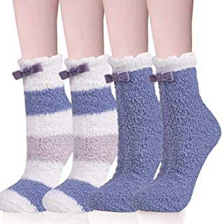 WKTRSM, Calcetines Termicos Invierno Mujer Calcetines Esponjosos Calcetines Elásticos Suaves Navidad Calcetines de Felpa Cálidos Calcetines Divertidos para Niñas Calcetines de Estar Por Casa,2 Pares