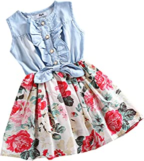 MingAo Little Girls Denim Floral Print Sleeveless Skirt Dresses & Long Sleeve, One-Piece