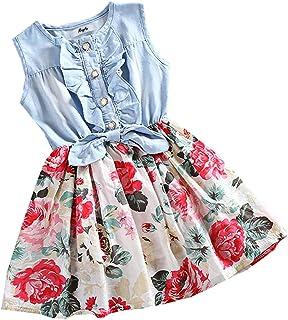 MingAo Little Girls Denim Floral Print Sleeveless Skirt Dresses and Long Sleeve, One-Piece