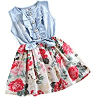 Little Girls Denim Floral Print Sleeveless Skirt Dresses & Long Sleeve, One-Piece