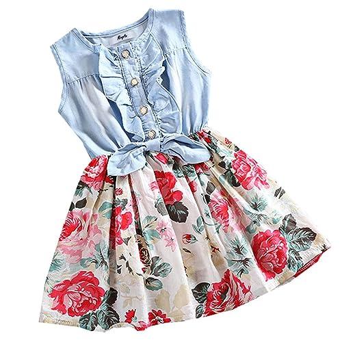 dbdc1da26c5 MingAo Little Girls Denim Floral Print Sleeveless Skirt Dresses   Long  Sleeve