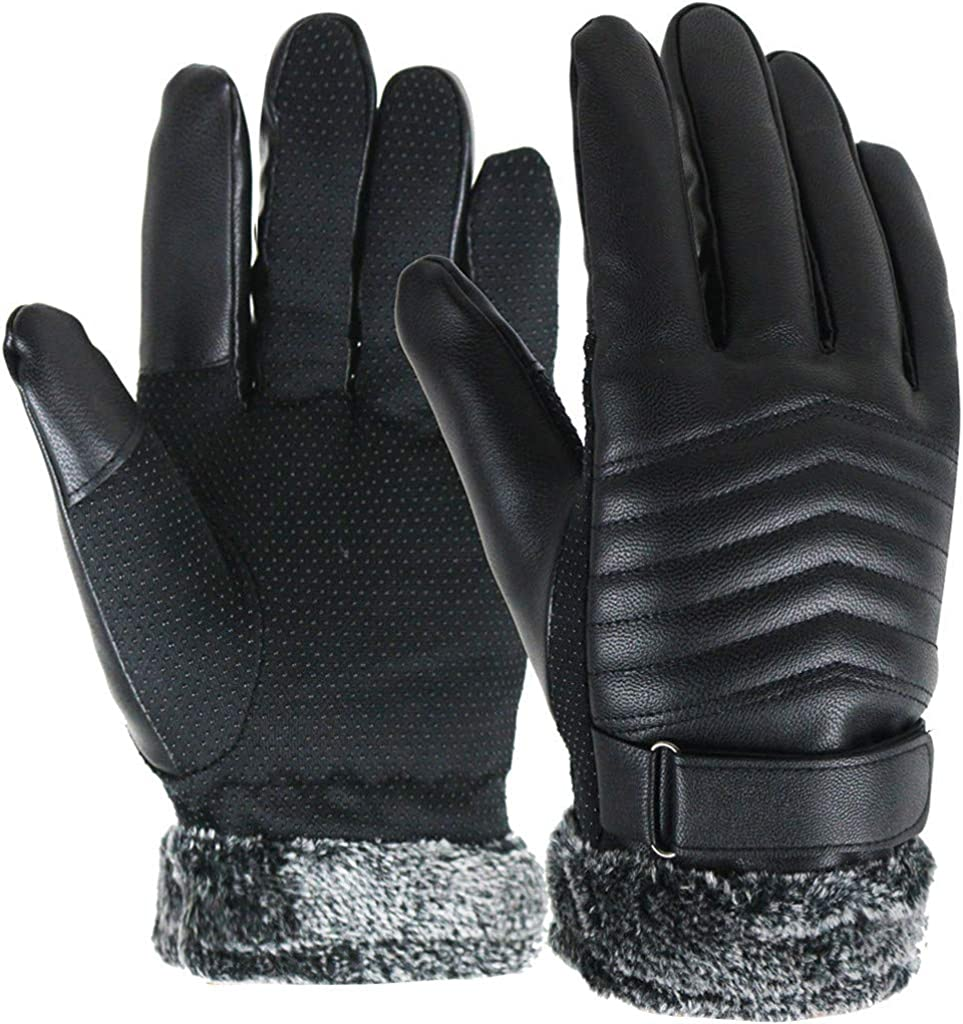 GREFER Men Winter Leather Mittens Solid Faux Fleece Lining Touchscreen Gloves for Cold Weather