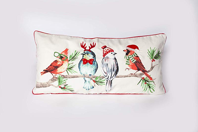 MON AMI Hipster Bird Christmas Lumbar Pillow Cover With 3D Decorative Details Multicolor