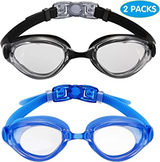 Aegend Swim Goggles, Swimming Goggles Flat Lenses Pack of 2, Anti-Fog UV Protection Leak-Proof Triathlon Swim Glasses with Free Protection Case for Adult Men Women Youth