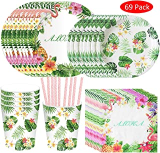 Formemory 69Pcs Hawaiian Theme Party Supplies, Includes Plates Cups Strawsand Napkins for Birthday and Summer Parties