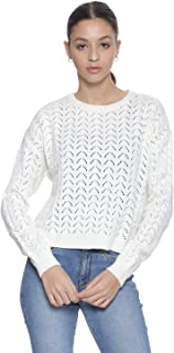 Andiamo Fashion Wool Ribbed Trims Round Neck Open Knit Pullover for Women - Off