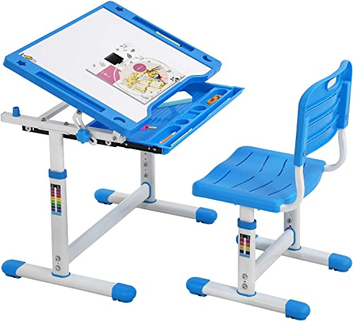 wholesale FDW Height Adjustable Multifunctional Children's Study Desk high quality Table Chair Set with Drawer for outlet sale Kids (Blue) outlet sale