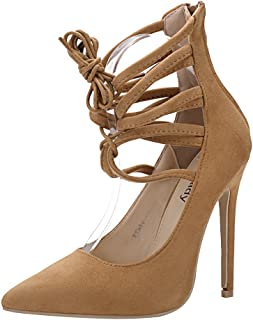 58b649d0d Mila Lady ETHER21 Pointed Toe Lace up Strappy Ankle Elegance Stilettos Lady  Heeled Pumps Shoes