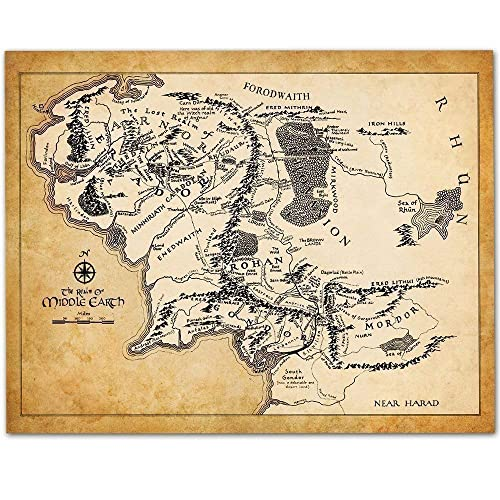 Maps Of Middle Earth Amazon.com: Map of Middle Earth   11x14 Unframed Art Print   Makes