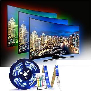 comprar comparacion Tiras LED TV 2.5M, Tira LED USB con Control Remoto, 4 Modos de Brillo y 16 Colores, 5050 RGB Tira LED para Habitacion, Hog...