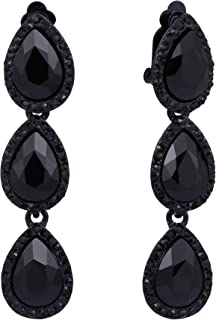 695703f72 EleQueen Women's Austrian Crystal Teardrop Pear Shape 2.4 Inch Long Clip-on Dangle  Earrings