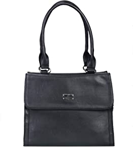 Khadim's Black Synthetic Solid Casual Tote Bag for Women