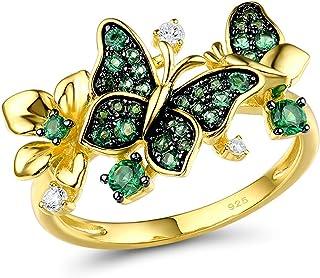 خاتم الفراشة 925 الفضة الاسترليني الإسبنيل الأخضر الذهب ستار زهرة استرخى خواتم مجوهرات للنساء