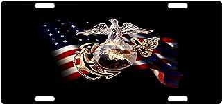USMC Custom License Plate US Marines Corps Emblem USA Flag Version