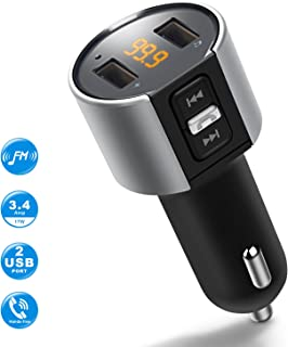 Bluetooth FM Transmitter for Car, Wireless Bluetooth FM Radio Adapter Car Kit with Hands-Free Calling and 2 Ports USB Charger 5V/2.4A&1A.