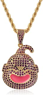 Bling Bling Cartoon Fat Majin Buu Charm Iced Out Pink Cubic Zircon Stone Gold Pendant Necklace Colar Hiphop Jewelry Homme
