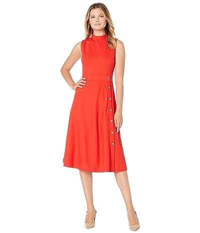 LAUREN Ralph Lauren Button-Trim Ponte Dress (Sporting Orange) Women