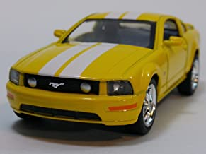 Kinsmart Yellow & White Stripes 2006 Ford Mustang GT Hardtop 1/38 Scale Diecast Car