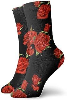 yting, Niños Niñas Locos Divertidos Flor de rosa roja Calcetines negros Calcetines lindos del vestido de la novedad
