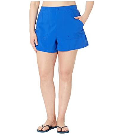 Maxine of Hollywood Swimwear Plus Size Solids Woven Boardshorts (Cobalt) Women