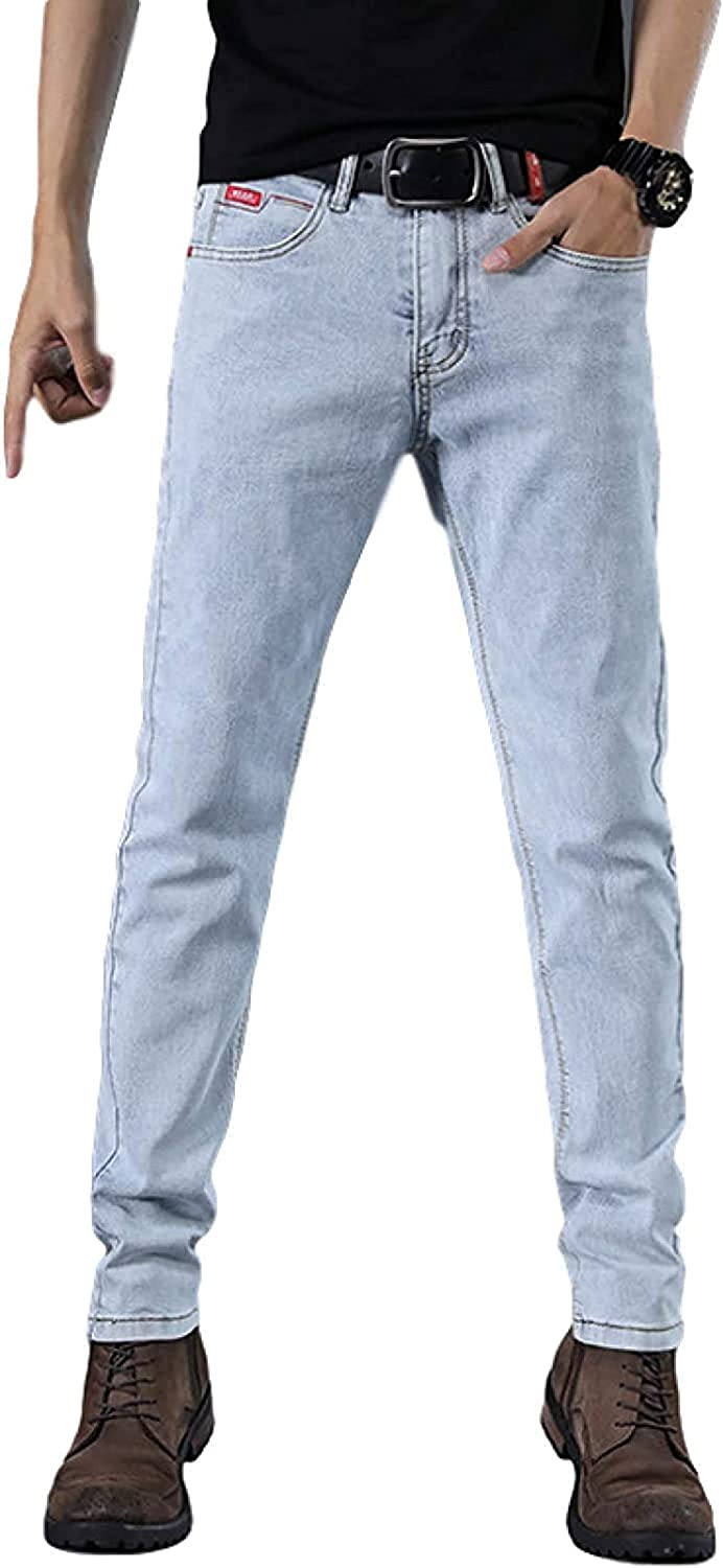 High Ranking TOP19 material Susanlife Men's Light Blue Stretch Slim-fit C Jeans Straight-Leg