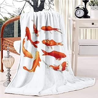 RECETHROWS Red and Gold koi Fishes Design Elements Plush Throw Blanket Soft Receiving Blanket Bed Throws Christmas Sofa Shawl Blanket Kid Nursery Emergency Blanket for Living Room