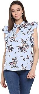 Peppytone Top for Women (TPPT180172PBLUM) | M Size, Powder Blue, Tie-Collar, Short Length, Frill Sleeves, Printed, Regular...