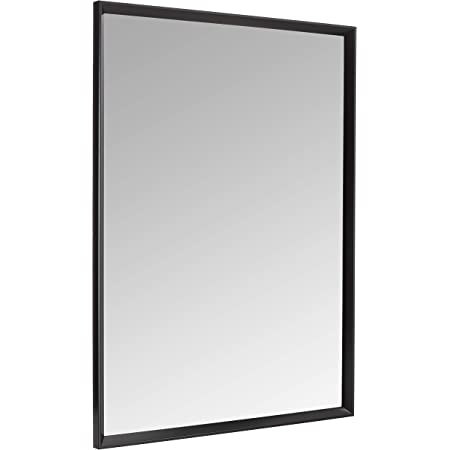 Amazon Com Neutype Large Wall Mounted Mirrors For Bathroom Bedroom Living Room Vanity Mirror Brushed Aluminum Alloy Thin Frame Burst Proof Glass Horizontal Or Vertical Hanging 36 X24 Black Home Kitchen