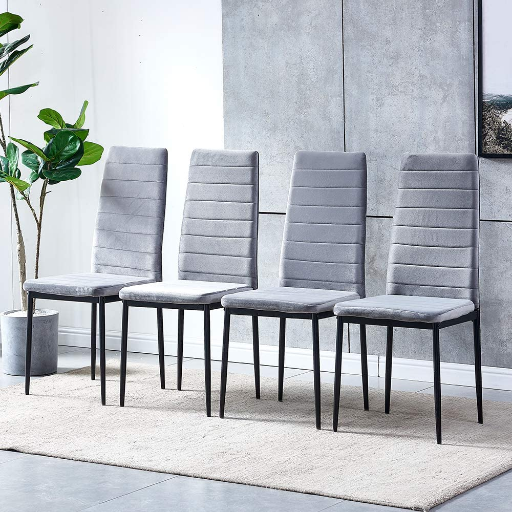 HomeSailing Modern Max 52% OFF Price reduction Dining Room Chairs Set Velvet 4 Grey Kitc of