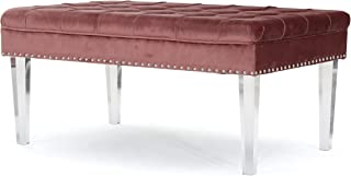 Christopher Knight Home Colonial Tufted Cushion New Velvet Ottoman (Blush),