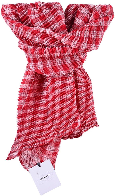 Agnona Scarf Women's Red White Checkered Cashmere 108x62