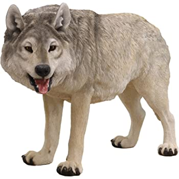 """Ebros Realistic Large Wildlife Alpha Gray Wolf Statue 48"""" Long Lifelike Museum Replica Quality Of Wolves Or Timberwolves Decor Figurine For Rustic Cabin Lodge Animal Totem Spirit Collectible Art Gifts"""