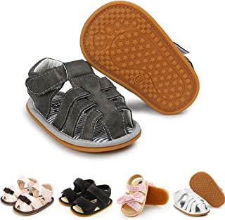 Baby Boys Sandals Soft Rubber Sole Non-Slip Summer Baby Shoes Closed Toe Toddler Infant Flat Shoes First Walkers