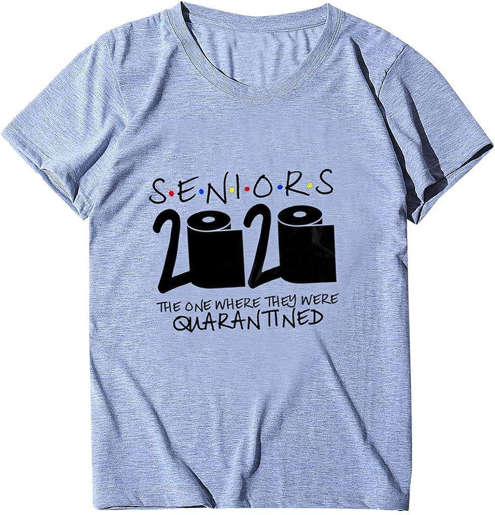iQKA Womens Casual Cotton T Shirt Seniors 2020 Letter Print Short Sleeve O Neck Graphic Tops Tees Blouses S-3XL