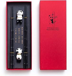 HauSun 2 Pairs Chopsticks and Chopstick Rest Gift Set- Dishwasher Safe Reusable Fiber Glass Chopsticks + Porcelain Cute Panda Chopstick Holder, Non-slip Chinese Japanese Style Chopsticks Set, Black