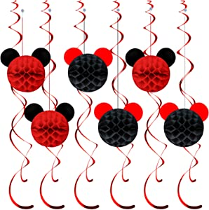 Red Mickey Mouse Themed Party Minnie Themed Party Disney Party Minnie Honeycomb Balls Hanging Decor, Birthday Party,Girls Fantastic Party,Party Gifts for Kids