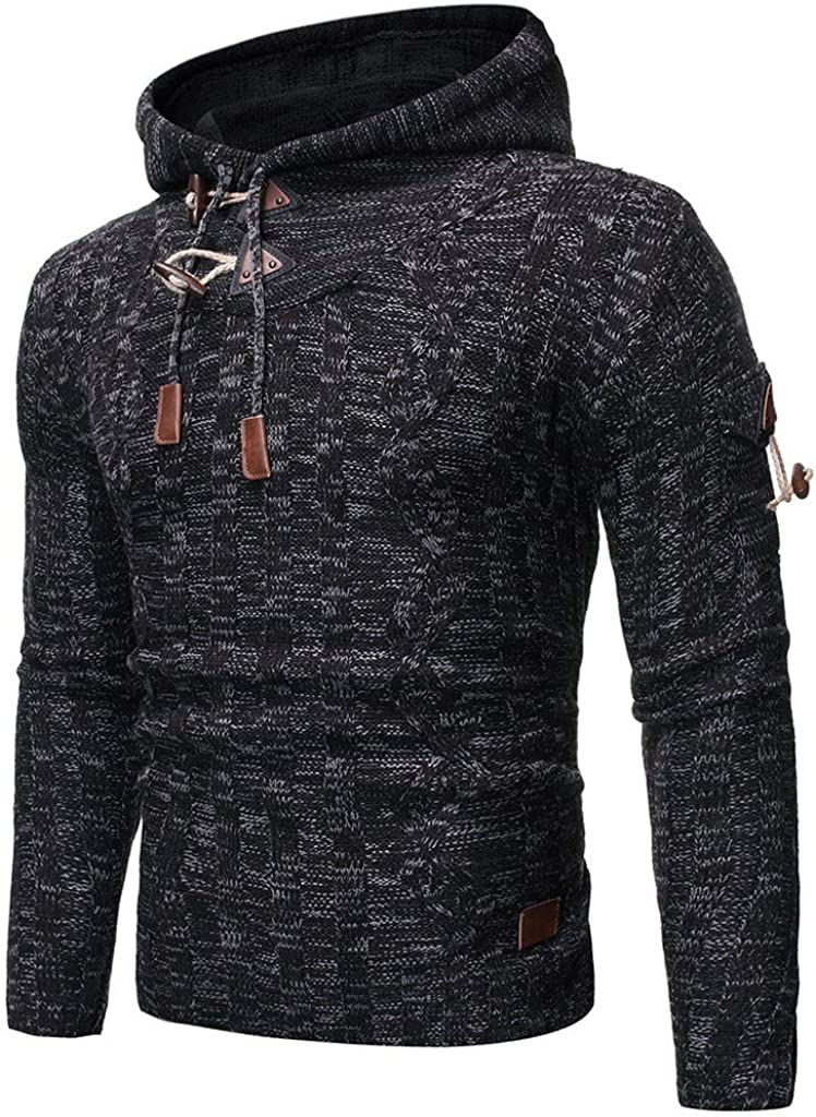 Pervobs Mens Knitted Long Sleeve Hooded Solid Pullover Sweatershirt Coat Outwear