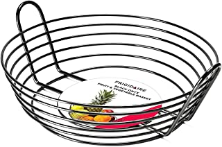Frigidaire Black Onyx Metal Fruit Basket & Bowl for Kitchen Table or Counter