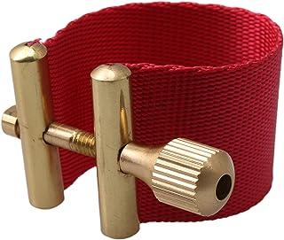 Yibuy Sax Ligature Fastener Clip for Tenor Alto Treble Saxophone Rubber Mouthpiece Red