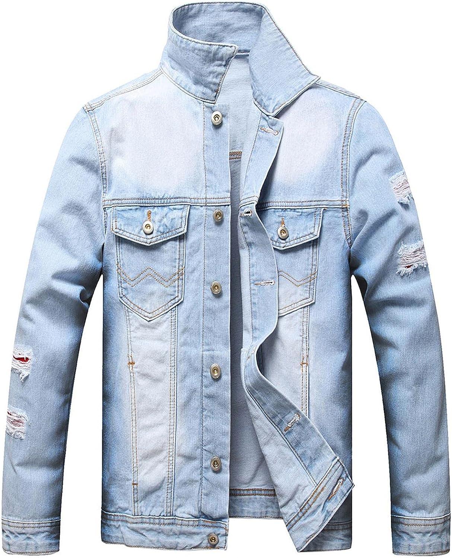 Huangse Men's Distressed Denim Jacket Button Down Ripped Denim Jacket Trucker Jean Coat Fall Winter Coat