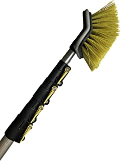 """DocaPole 6-24 Foot Hard Bristle Brush Extension Pole  11"""" Scrub Brush with Telescopic Pole   Long Handle Cleaning Brush and Deck Brush for House Siding, Deck, Garage, Patio and more"""