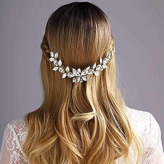Yean Flower Wedding Hair Vine Bridal Headband Rhinestonne Silver Leaf Hair Accessories for Bride and Bridesmaid