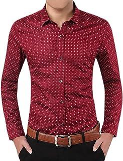 Tiitstoy Summer Men's Business Leisure Shirts Long Sleeve Polka Dot Print Tops Work Blouse