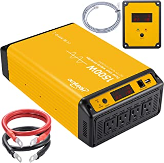 Hoenjuno 1500W Pure Sine Wave Power Inverter Generator DC 12V to AC 110-120V Power Source with 15 Feet Remote Control Cable