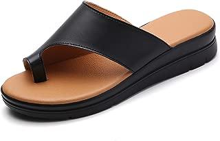 Bunion Sandals for Women Comfy - Bunion Corrector Platform Shoes BSP-2 Genuine Leather Women Flip-Flop Light Weight Ladys Shoes 2019 Size 5.5-10.5 Black Gold Brown White