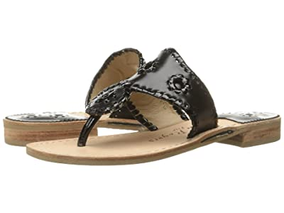 Jack Rogers Jacks Flat Sandal (Black/Black Patent) Women
