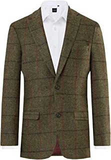 Harris Tweed Mens Green/Brown Check Tweed Jacket Regular Fit 100% Wool
