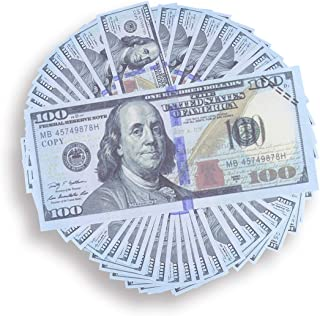 Prop Money Real Looking Copy 100s Full Print Stack - Total $10,000 for Movie, TV, Videos, Advertising & Novelty (100) Pretend Money