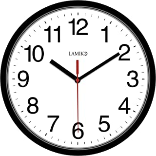 LAMIKO Wall Clocks Non-Ticking Silent 10 Inch Battery Operated Classic Quartz Decro Clock Easy to Read for Room/Home/Kitchen/Bedroom/Office/School, Black